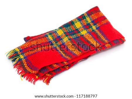 colorful wool scarf isolated on white background