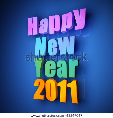 Colorful words of happy new year 2011 on blue background