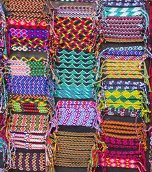 Colorful woven bracelets for sale, Latin America