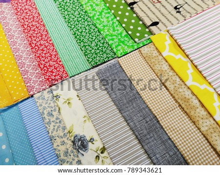 Colorful woven cotton fabric samples, multicolored textile texture background. #789343621