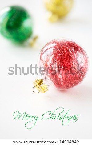 Colorful xmas baubles with copy space
