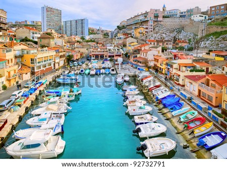 colorful yacht harbour in old...