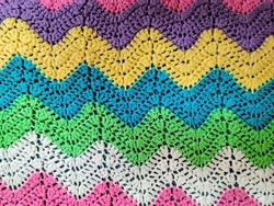 Colorful yarn in crochet zigzag pattern background