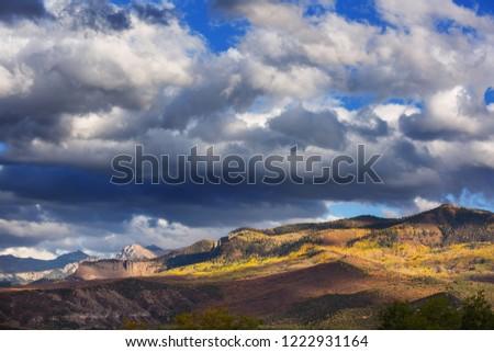 Colorful yellow autumn in Colorado, United States. Fall season. #1222931164