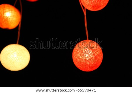 colorful yellow red green pink lantern with night scene