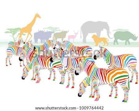 Colorful zebras in the savanna, Illustration
