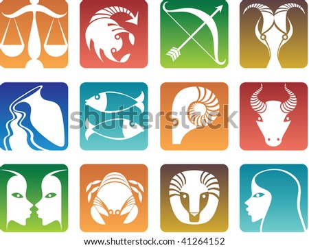 Colorful zodiac sign icons