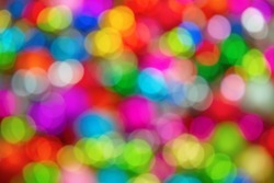 Colorfull background - defocused ligths of Christmas decorations