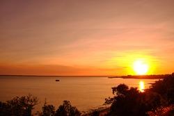 Colorfull Darwin Sunset. Orange and yellow vivid colors. Fannie bay, Darwin, Northern Territory, Australia