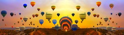 colorfull hot air balloons festival floating in sunrise sky background