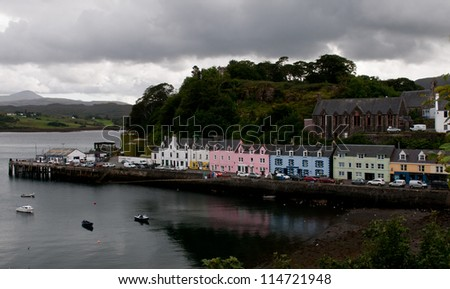 Colorfull houses in Portree harbour, Isle of Skye, Scottish highlands.
