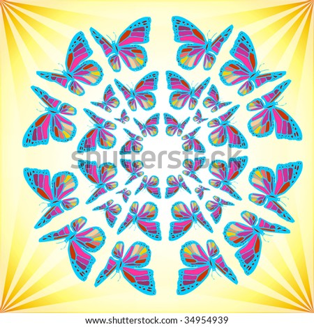 Colorfull mandala made of butterflies over a shiny yellow background.
