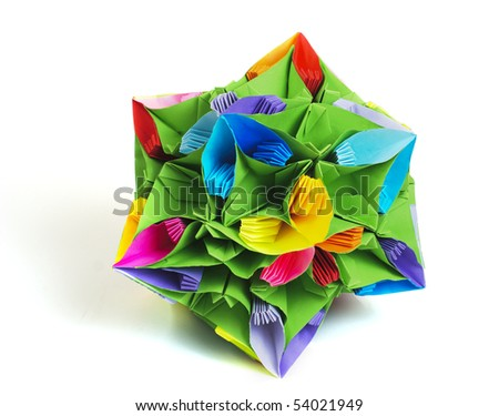 Colorfull origami kusudama from rainbow flowers isolated on white.