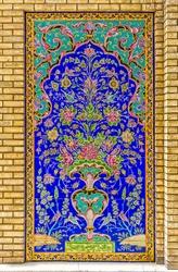 Colorfull tiles decoration detail of Golestan Palace former royal Qajar complex in capital city. Tehran, Iran.