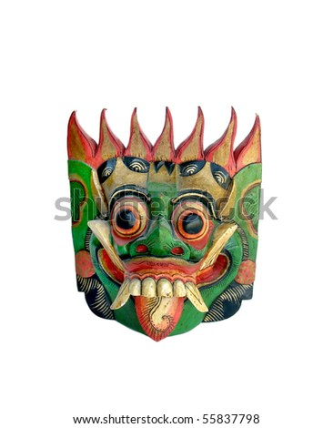 Colorfully painted wooden Indonesian mask