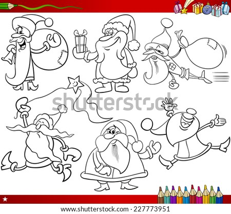 coloring book cartoon illustration of black and white christmas themes set with santa claus