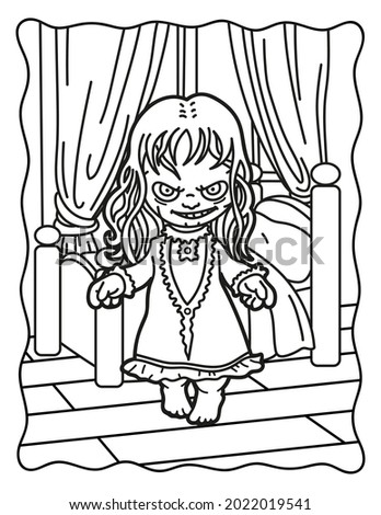 Coloring book for children. Creepy girl in the bedroom. Coloring book for adults. Halloween. Coloring book for Halloween. Cute horror movies.