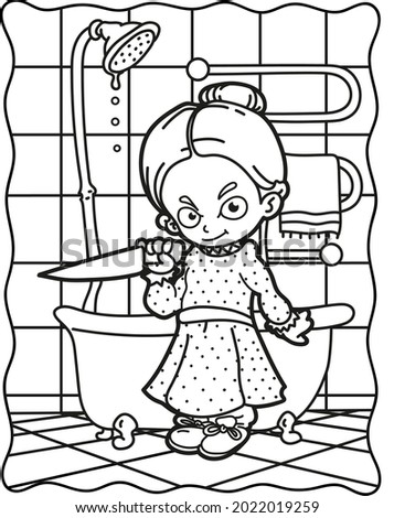 Coloring book for children. Creepy girl with a knife in the bathroom. Coloring book for adults. Halloween. Coloring book for Halloween. Cute horror movies.