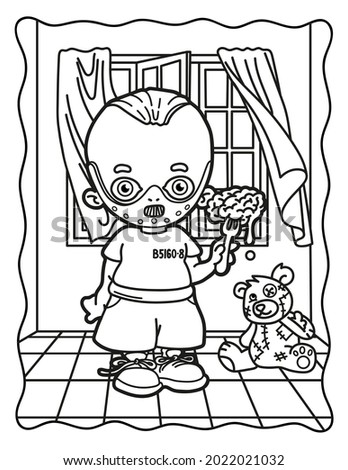 Coloring book for children.  Cute cannibal. Coloring book for adults. Halloween. Coloring book for Halloween. Cute horror movies.