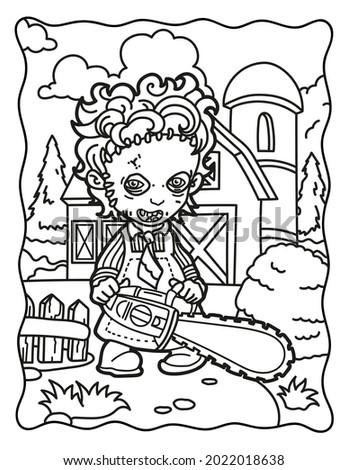 Coloring book for children.  Leatherface with a chainsaw on the farm. Coloring book for adults. Halloween. Coloring book for Halloween. Cute horror movies.