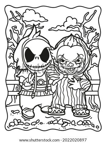 Coloring book for children. Spooky characters. Coloring book for adults. Halloween. Coloring book for Halloween. Cute horror movies.