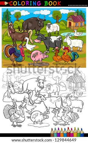 Coloring Book or Coloring Page Cartoon Illustration of Funny Farm and Livestock Animals for Children Education - stock photo