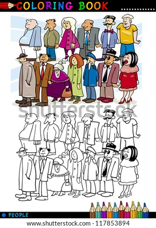 Coloring Book or Page Cartoon Illustration of People Group Staying in Queue