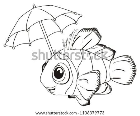 coloring clown fish hold umbrella