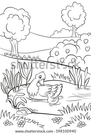 Coloring pages. Cute duck runs from the pond. There are tree ...