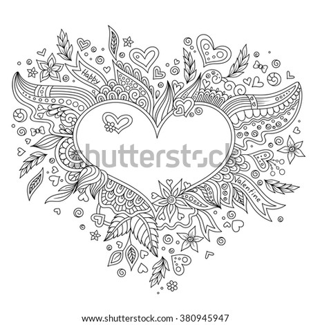 Coloring page flower heart St Valentine Stock Photo