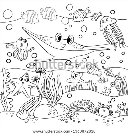coloring page for kid under water