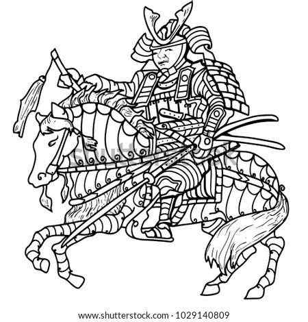 Coloring Page Of A Warrior Riding Horse