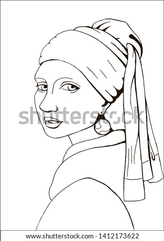 Coloring page with of the Girl with a pearl earring based on Johannes Vermeer