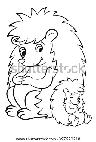 Coloring Page Color Me Hedgehog Mother Hedgehog Sits With