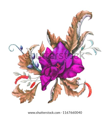 Coloristic variation on the theme of autumn watercolor illustration of a bouquet with a flower in Art Nouveau style.