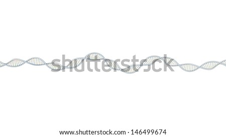 Dna Background Black Colorized Dna 3d Model on White Background Horizontal Layout Very Long Dna