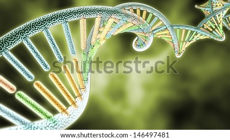 colorized DNA model on Green Biological styled background 3D rendering with Depth of Field DoF