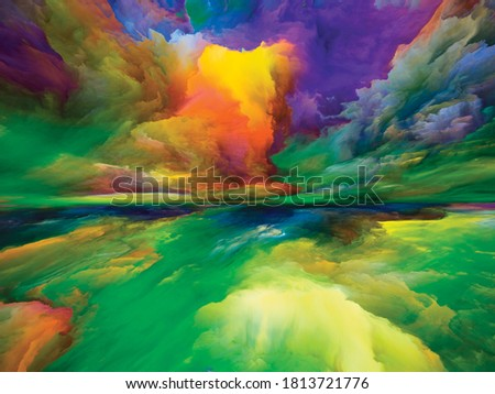 Colors Beyond Death. Escape to Reality series. Backdrop design of surreal sunset sunrise colors and textures to serve as background for projects on landscape painting, imagination, creativity and art