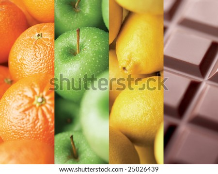 colors by different kind of fruits and chocolate