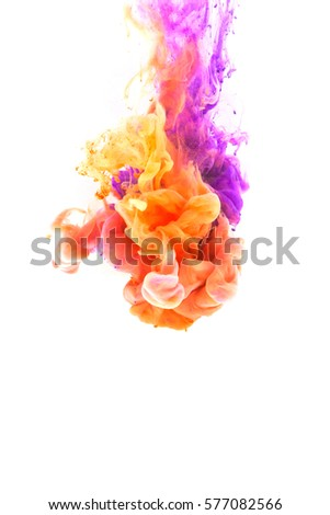 Colors dropped into liquid and photographed while in motion, Cloud of silky ink in water  on white isolated background. #577082566