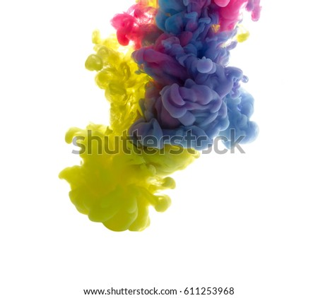 Colors dropped into liquid and photographed while in motion. Cloud of silky ink in water on white isolated background, an abstract banner. - Shutterstock ID 611253968