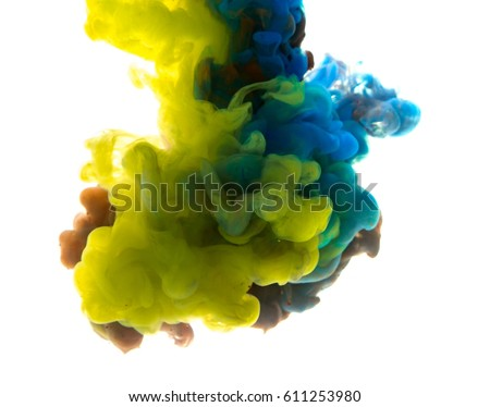 Colors dropped into liquid and photographed while in motion. Cloud of silky ink in water on white isolated background, an abstract banner. - Shutterstock ID 611253980