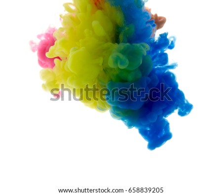 Colors dropped into liquid and photographed while in motion. Cloud of silky ink in water on white isolated background, an abstract banner. - Shutterstock ID 658839205