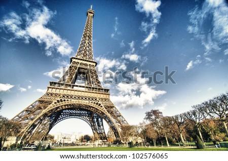 Colors of Eiffel Tower in Paris, Winter Season