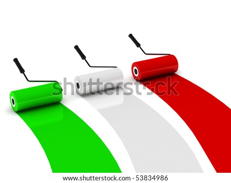 Colors of Italy. Paint roller isolated on white background. High quality 3d render.