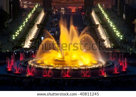 Colors of Magic fountain in the night, Barcelona, Spain