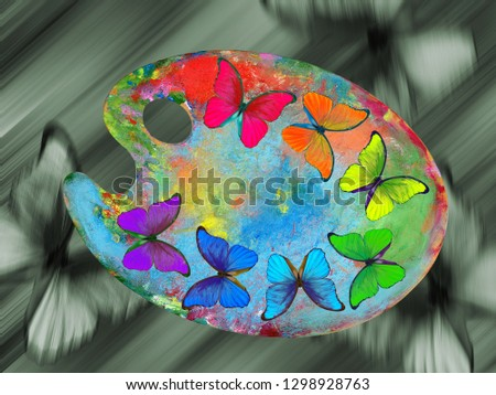 Colors of nature. Colors of rainbow. Palette with colorful paints and morpho butterflies isolated on a white background. Color concept.
