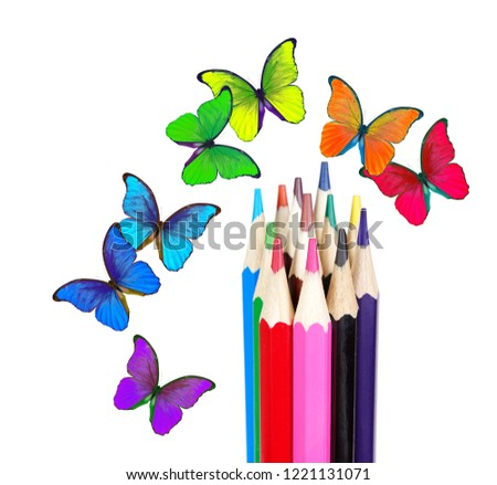 colors of rainbow. colored pencils and multicolored morpho butterflies. color concept.  #1221131071