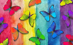 Colors of rainbow. Pattern of multicolored morpho butterflies. Abstract colorful pattern. Multicolored watercolor stains.