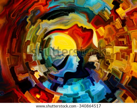 Colors of the Mind series. Composition of  elements of human face, and colorful abstract shapes to serve as a supporting backdrop for projects on mind, reason, thought, emotion and spirituality ストックフォト ©